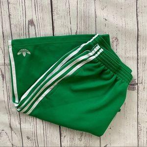 Men's Adidas green white striped basketball shorts
